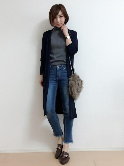 MIKUさんの「WOMEN メリノブレンドリブタートルネックセーター(ノースリーブ)(ユニクロ)」を使ったコーディネート