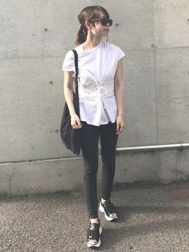 Natsumiさんの「ウエストレースアップTシャツ(FRAY I.D)」を使ったコーディネート