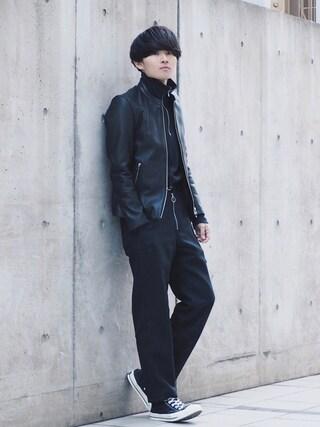 STUDIOUS ルミネ池袋店|Ryoさんの「STUDIOUS ソフトラムシングルライダース-made in japan-(STUDIOUS|ステュディオス)」を使ったコーディネート