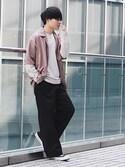 Ryoさんの「【WEB限定】STUDIOUS フィブリルサテンオープンカラーシャツ 【先行予約】(STUDIOUS|ステュディオス)」を使ったコーディネート