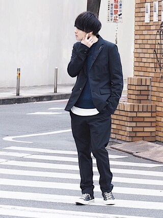 「【wjk black】≪STUDIOUS限定≫EXTRA 4WAY STRETCH 2B JACKET(wjk black)」 using this STUDIOUS ルミネ池袋店|Ryo looks