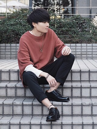 「【ZOZO限定】STUDIOUS リブニットTシャツ 【先行予約】(STUDIOUS)」 using this STUDIOUS ルミネ池袋店|Ryo looks
