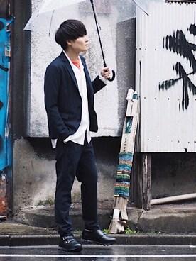 STUDIOUS ルミネ池袋店|Ryoさんのテーラードジャケット「STUDIOUS マルチストレッチキューダステーラードジャケット(STUDIOUS|ステュディオス)」を使ったコーディネート