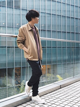 「【ZOZO限定】STUDIOUS パウダーサテンジップブルゾン(STUDIOUS)」 using this STUDIOUS ルミネ池袋店|Ryo looks