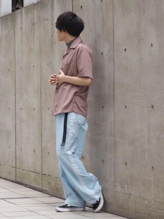 「【ZOZO限定】STUDIOUS フィブリルサテンオープンカラーシャツ 【先行予約】(STUDIOUS)」 using this STUDIOUS ルミネ池袋店|Ryo looks