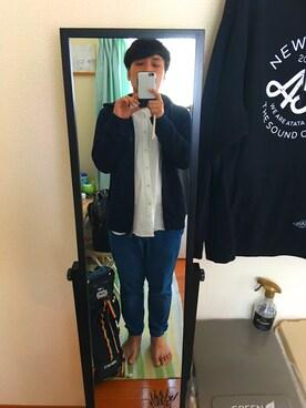 「MEN リネンコットンスタンドカラーシャツ(半袖)(ユニクロ)」 using this タカシワタナベ looks