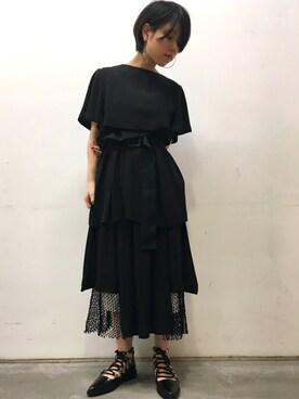 MIDWEST NAGOYA MEN|ホリユキノさんの「TOGA PULLA メッシュサテンスカート(TOGA PULLA)」を使ったコーディネート