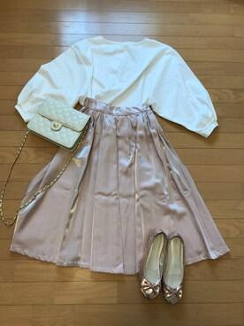 natalie**さんの「カラータックギャザースカート(MIIA|ミーア)」を使ったコーディネート