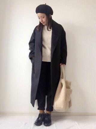 emineoさんの「フェイクウールガウンコート(LE JUN|ル ジュン)」を使ったコーディネート