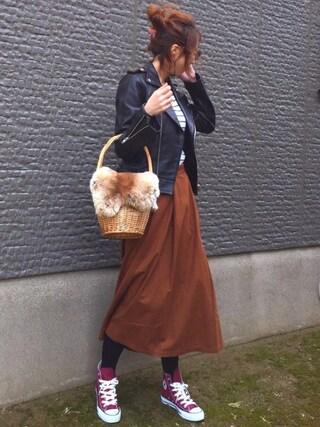 「レザーライダースジャケット(TODAYFUL)」 using this MISATO  looks