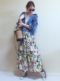 MISATO さんの「【再入荷】ボタニカル花柄スカート(TRUNO by NOISE MAKER|トルノバイノイズメーカー)」を使ったコーディネート