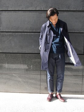 45R 仙台パルコ2店|93さんのテーラードジャケット「インディゴオックスハーフコート(45R|フォーティファイブ・アール)」を使ったコーディネート