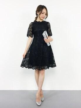 ZOZOTOWN|momokoさんの「パーフェクトレースショートスリーブワンピースドレス【結婚式・お呼ばれ・オケージョン・フォーマル対応ワンピースドレス】(darial)」を使ったコーディネート