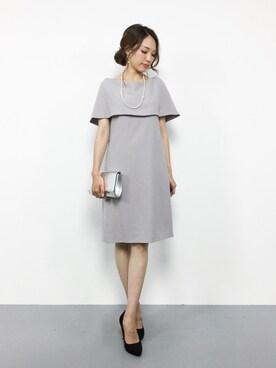 ZOZOTOWN|momokoさんの「【結婚式・お呼ばれ対応ワンピースドレス】ケープ風ボートネックワンピース(GIRL)」を使ったコーディネート