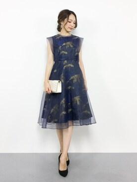 ZOZOTOWN|momokoさんの「【結婚式・お呼ばれ対応ワンピースドレス】花柄ジャガード&オーガンジーフレアワンピース・パーティードレス(GIRL)」を使ったコーディネート