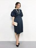 momokoさんの「【結婚式・お呼ばれ対応ワンピースドレス】バルーンスリーブトップス&ラップスカートセットアップ・パーティードレス(GIRL)」を使ったコーディネート