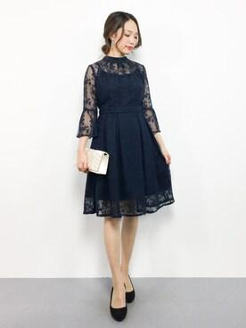 ZOZOTOWN|momokoさんの「\優木まおみさん着用/【結婚式・二次会・パーティー対応】クチュールレースリボンワンピースドレス(RUIRUE BOUTIQUE)」を使ったコーディネート