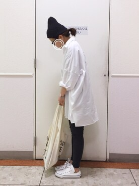 a.megumiさんのシャツ/ブラウス「ドロップショルダーBIG長袖シャツ(AZUL by moussy アズールバイマウジー)」を使ったコーディネート
