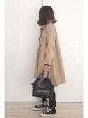 a.megumiさんの「高密度C/Nステンカラーコート(mysty woman ミスティウーマン)」を使ったコーディネート