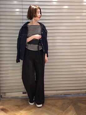 apart by lowrys/横浜ジョイナス店 KeiさんのTシャツ/カットソー「Cボーダーウシロカシュクール8S 751909 (apart by lowrys アパートバイローリーズ)」を使ったコーディネート