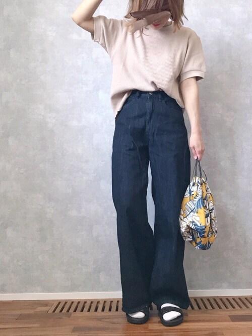 ☻ m♡ao*さんの「ワッフルクルーネックT(5分袖)(UNIQLO)」を使ったコーディネート
