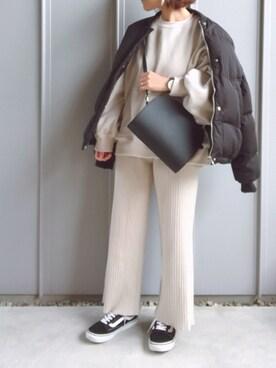 ZOZO m♡ao*さんのダウンジャケット/コート「【Holiday】ノーカラーショートダウンジャケット(Auntie Rosa Holiday アンティローザホリデー)」を使ったコーディネート