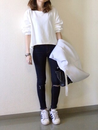 mueさんの「<6(ROKU)>DOUBLE FACE PULLOVER/カットソー(BEAUTY&YOUTH UNITED ARROWS|ビューティアンドユースユナイテッドアローズ)」を使ったコーディネート