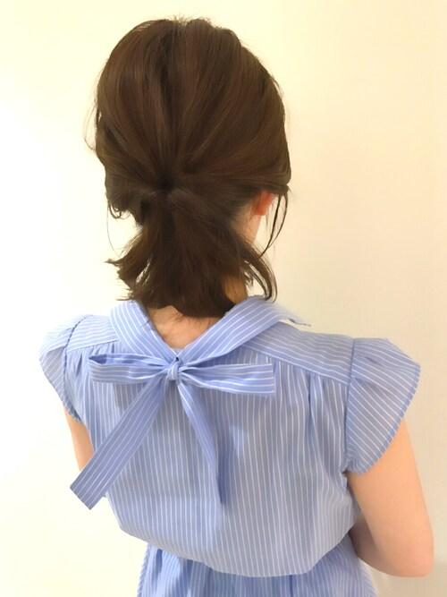うおchanさんの「シャツ地襟付ノースリーブウエストリボンワンピース(31 Sons de mode)」を使ったコーディネート