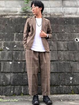 かにみそ🦀さんの「【セットアップ企画】グレンチェックテーラードジャケット※パンツ別売り(coen)」を使ったコーディネート