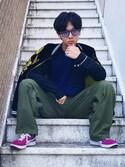 """かにみそ🦀⁉︎ is wearing MYSELF ABAHOUSE """"刺繍ラグラン切り替えロングTシャツ"""""""