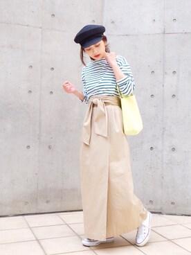 武智志穂さんの「コットンギャバベルテッドロングスカート◆(plage|プラージュ)」を使ったコーディネート