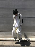 宮下雅人 PERCUTさんの「WOMEN オックスフォードワイドパンツ+E(ユニクロ|ユニクロ)」を使ったコーディネート