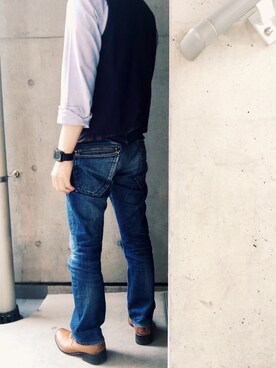 Toshihiko Kobayashiさんのデニムパンツ「GLOBAL WORK インディゴジーンズ」を使ったコーディネート