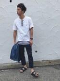 「◇W Fプレーティング天竺クルーネックTシャツ(EDIFICE)」 using this KEIJI looks