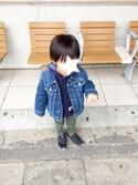 kuさんの「きかんしゃトーマス HAPPY BAG【スタジャンタイプ】(CIAOPANIC TYPY|チャオパニックティピー)」を使ったコーディネート