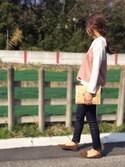 nyaobuさんの「足にFITするオペラパンプス☆痛くない歩きやすい機能性,クッション性抜群の1cmヒールポインテッドトゥフラットパンプス/LibertyDoll5324(LibertyDoll|リバティードール)」を使ったコーディネート