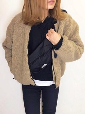 nyaobuさんのブルゾン「リバーシブルボアフリースジャケット(FREAK'S STORE フリークスストア)」を使ったコーディネート