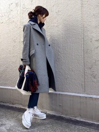 ari☆さんの「ダブルブレストコート◆(FRAMeWORK|フレームワーク)」を使ったコーディネート