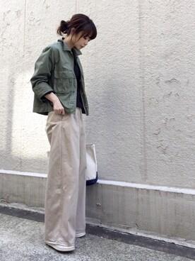 ari☆さんの「≪予約≫chinoワイドパンツ 追加◆(FRAMeWORK|フレームワーク)」を使ったコーディネート