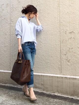 「【洗濯機で洗える】モダールポリエステル襟ワイヤー入りシャツ(AZUL ENCANTO)」 using this ari☆ looks