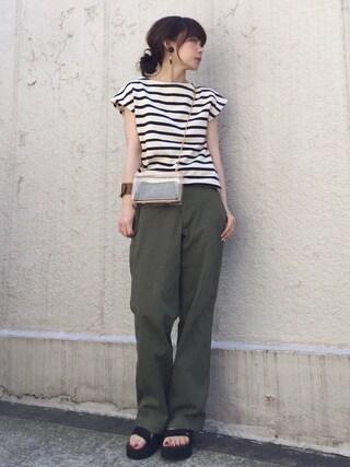 ari☆さんの「ボーダーフレンチスリーブTシャツ◆(IENA イエナ)」を使ったコーディネート