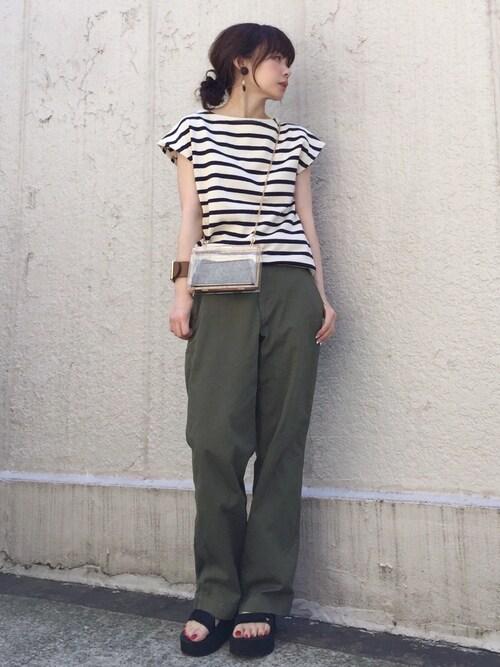 ari☆さんの「ボーダーフレンチスリーブTシャツ◆(IENA)」を使ったコーディネート