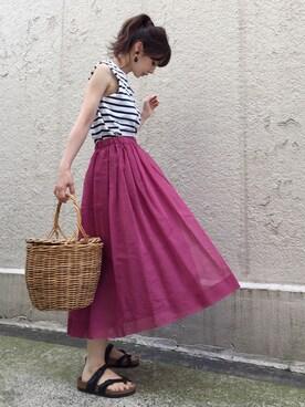 ari☆さんの「コットンシルク オーガンジースカート#(journal standard L'essage|ジャーナルスタンダードレサージュ)」を使ったコーディネート
