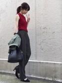ari☆さんの「ドット ストレートタックパンツ◆(FRAMeWORK|フレームワーク)」を使ったコーディネート