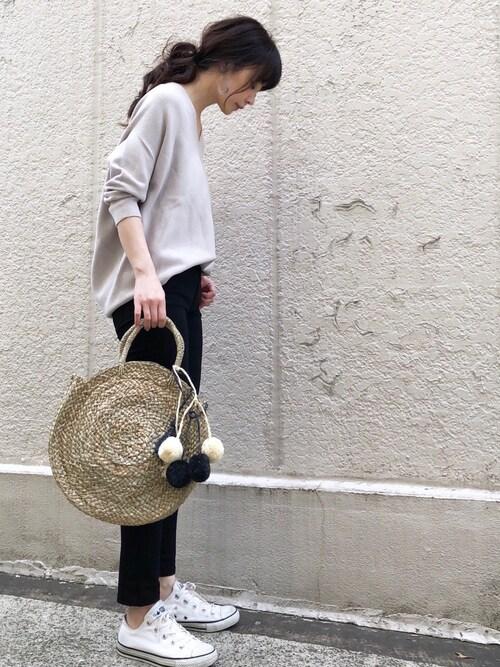 ari☆さんの「コットンストレッチコクーンVネック 袖付き◆(IENA)」を使ったコーディネート