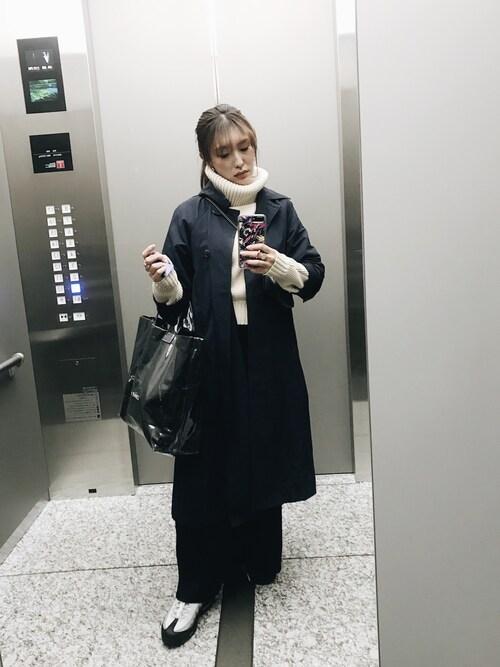 小竹麻美さんの「BIGタートルニットプルオーバー(MURUA)」を使ったコーディネート