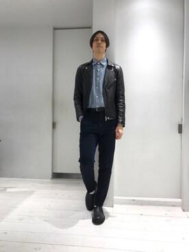 STUDIOUS 博多店|宮城 大さんのライダースジャケット「STUDIOUS ソフトラムダブルライダース-made in japan- (STUDIOUS|ステュディオス)」を使ったコーディネート