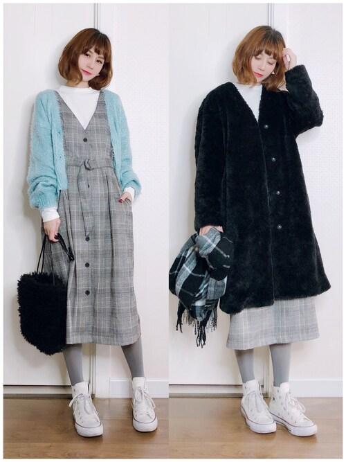 喵喵小桃使用「PAGEBOY(前ボタンジャンパースカート)」的時尚穿搭