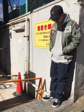 AVIREX  福岡|MASAYAさんのミリタリージャケット「avirex/ アヴィレックス / U.S.A..F.A. PATCHED L-2/ ユーエスエーエフエー パッチド L-2(AVIREX|アヴィレックス)」を使ったコーディネート