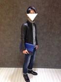 Hirotoさんの「PVCクラッチバッグ(JUNRed|ジュンレッド)」を使ったコーディネート